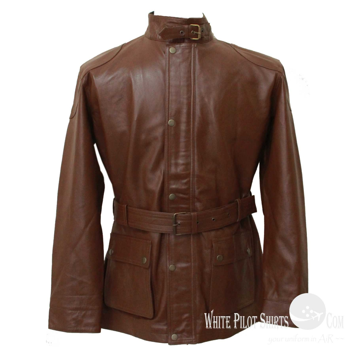 Military style brown modern brown panther leather for Mens white leather shirt