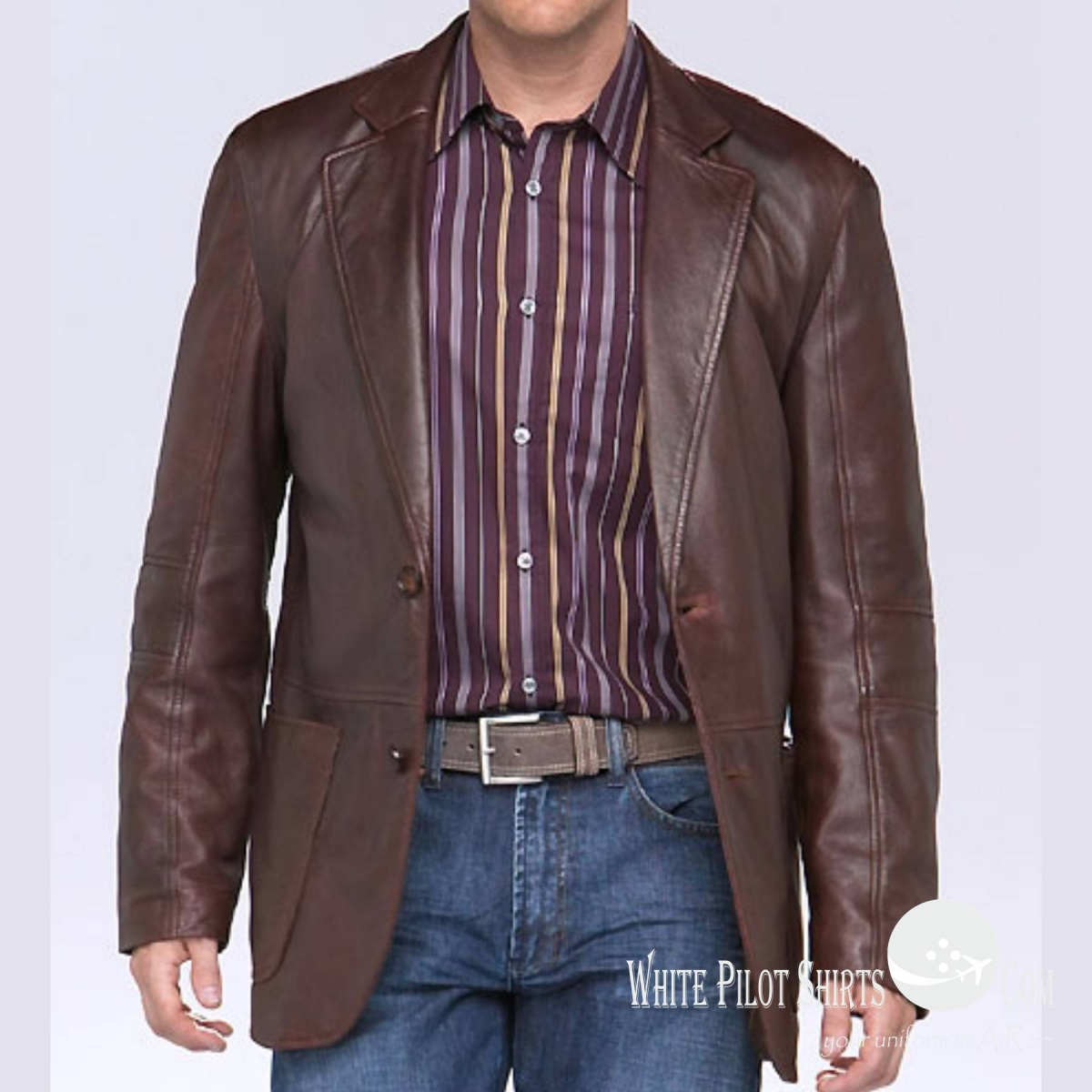 4 suit style jacket brown leather jackets men 39 s for Mens white leather shirt